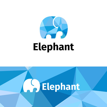 zoo: Vector trendy polygonal minimalistic elephant logo. Low poly logotype