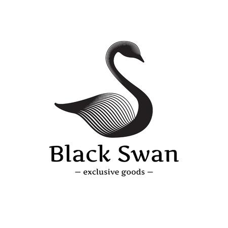 Vector trendy minimalistic swan logo. Beautiful black swan logotype
