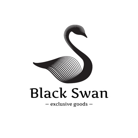 cisnes: Vector de moda logo cisne minimalista. Hermoso logotipo cisne negro