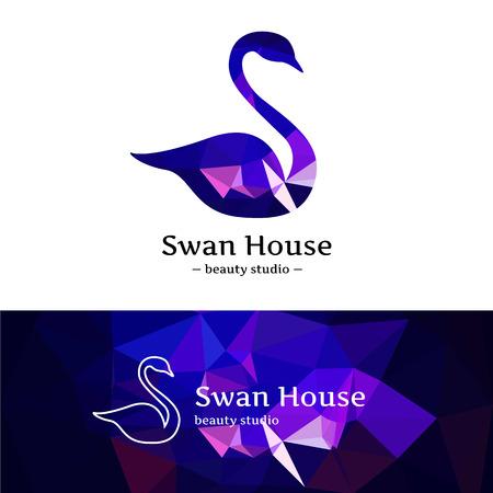 Vector trendy low poly swan logo. Beautiful diamond swan logotype with polygonal background