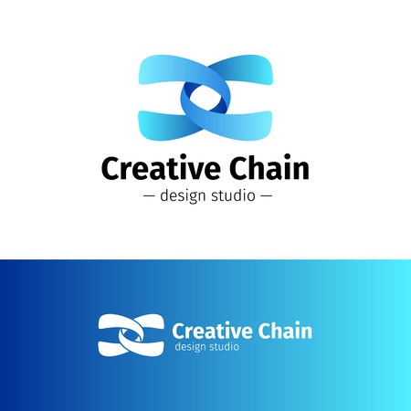 chain: Vector modern creative abstract logo. Gradient blue chain logotype. Illustration