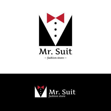 simple store: Vector trendy minimalistic man suit logo. Hipster suit with bow-tie logotype.