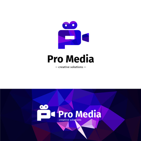 Vector trendy low poly camera logo. Media business P letter logotype with low poly background