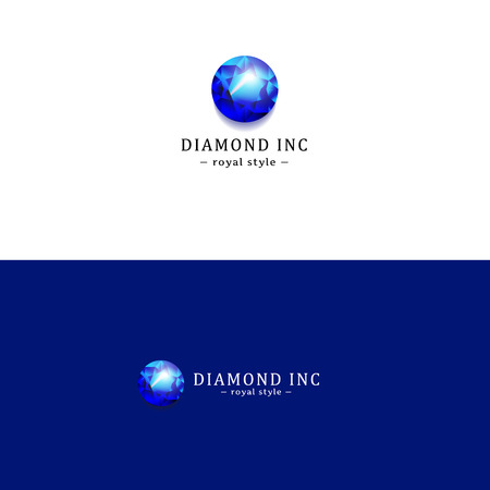 sapphire gemstone: Vector royal blue diamond logo. Rich gem logotype. Illustration