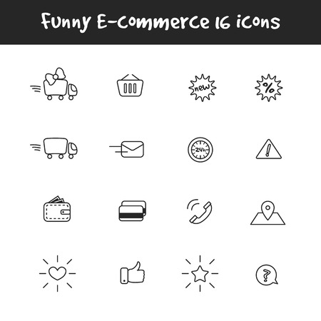ecommerce icons: Vector trendy outline black and white 16 e-commerce icons set. Online shop symbols collection