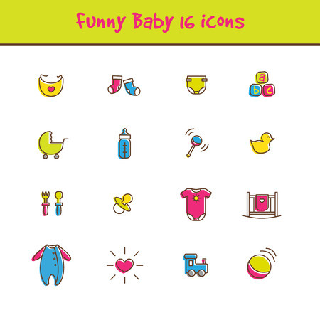 funny baby: Vector trendy outline colorful 16 baby icons set in funny style. Newborn theme symbols collection