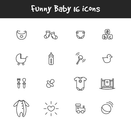 girl sleep: Vector trendy outline black and white 16 baby icons set. Newborn theme symbols collection