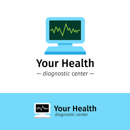 diagnostic: Vector trendy flat medical center logo. Diagnostic logotype. Computer with cardiogram on screen symbol. Illustration
