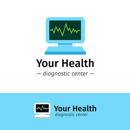 computer screen: Vector trendy flat medical center logo. Diagnostic logotype. Computer with cardiogram on screen symbol. Illustration