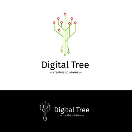 logotype: Vector trendy outline digital tree logotype.