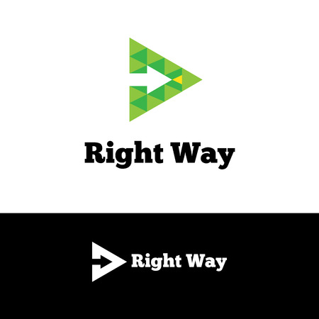Vector simple green arrow in triangle negative space logotype  イラスト・ベクター素材