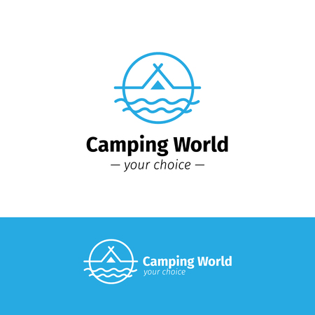 river vector: Vector trendy outline camping logo. Tent on a river hipster logotype Illustration