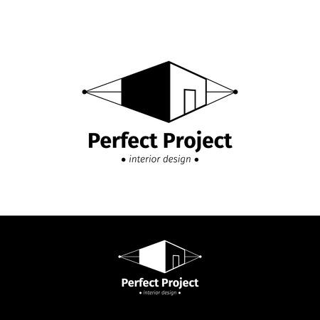 architect: Vector casa moderna minimalista diseño del logotipo.