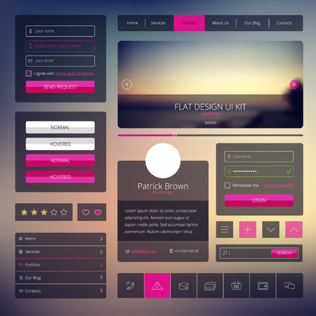 navigation buttons: Vector set of web design elements in flat style.