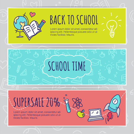 school kid: Vector education design concept with hand drawn elements. Cute back to school sale colorful banners