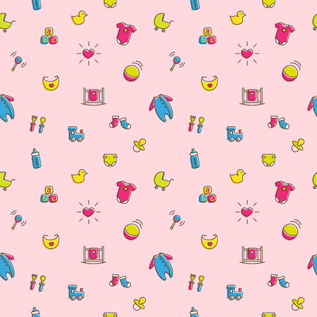 funny baby: Vector funny colorful baby and pregnancy seamless pattern in cartoon style. Newborn girl theme bright background