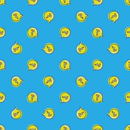 Vector trendy question signs in speech bubble seamless pattern. Questions background in cartoon style  イラスト・ベクター素材