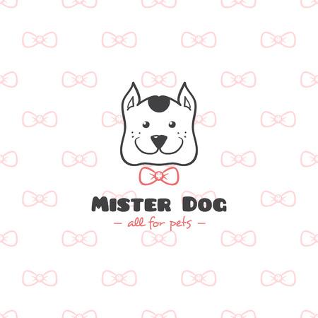 Vector funny cartoon style pet shop logo. Hand drawn doodle dog head logotype.  イラスト・ベクター素材