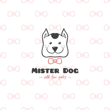 Vector funny cartoon style pet shop logo. Hand drawn doodle dog head logotype. Vettoriali