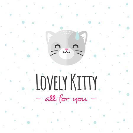 Vector funny cartoon cat head logo. Flat cat logotype.