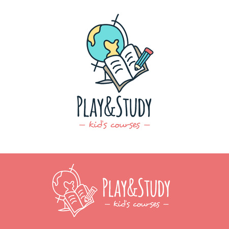 sketch child: Vector funny cartoon style education logo. Hand drawn study doodle logotype. Illustration