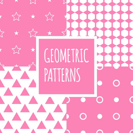 children clothing: Vector minimalistic geometric pink seamless patterns set. Baby shower girl backgrounds