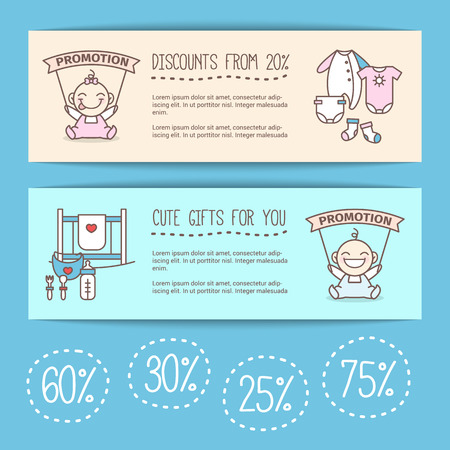 baby clothing: Vector cute baby goods sale posters. Kids store discount banners.