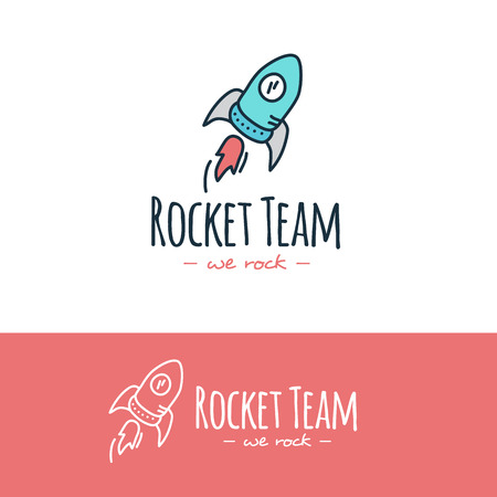 Vector funny cartoon style rocket logo. Hand drawn doodle start up logotype.