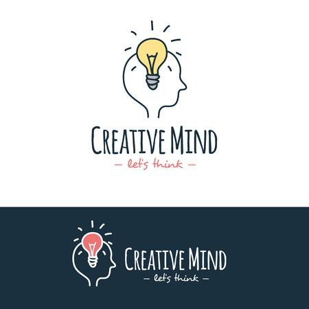 Vector funny cartoon style brain training logo. Hand drawn doodle logotype.