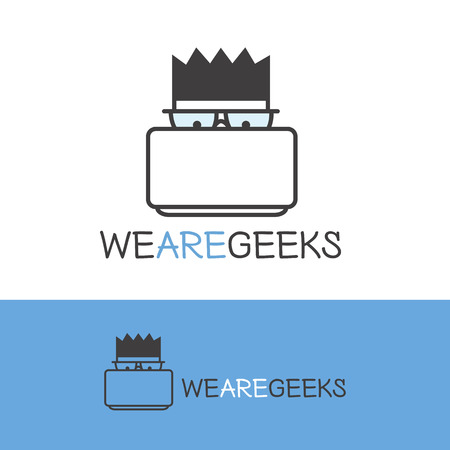 logo ordinateur: Vecteur de geek créative logotype. Moderne aperçu ordinateur ballot logo. Illustration