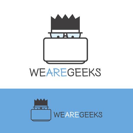education logo: Vector creative geek logotype. Modern outline computer nerd logo.