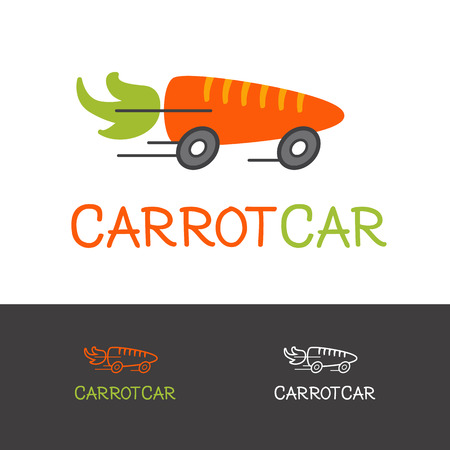 Vector funny bright carrot logotype. Healthy food delivery logo concept. 向量圖像