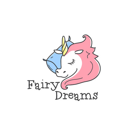 bedclothes: Vector cute little unicorn logo. Cartoon sleeping unicorn logotype. Bed-clothes store sign.