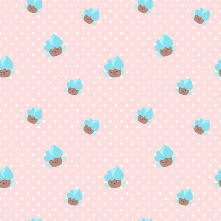 cakes background: Vector cute kawaii cupcakes seamless pattern. Pink and blue happy cakes background. Vectores