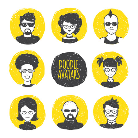 sun glasses: Vector funny user avatars in trendy hand drawn doodle style. Eight human faces on yellow hand drawn circles.