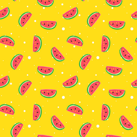 gift paper: Vector funny watermelon seamless pattern in trendy hand drawn doodle style. Cute simple watermelon background with dots.