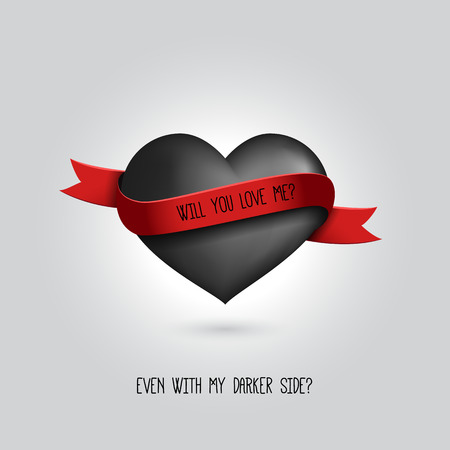 unrequited: Vector big black heart with red ribbon and love quotation. Love design concept