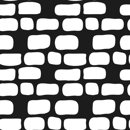 brick texture: Vector trendy hand drawn simple brick wall seamless pattern. Doodle style background.