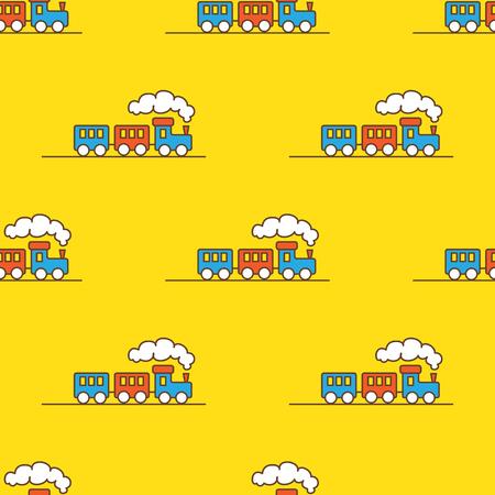 Vector funny cartoon toy train seamless pattern. Little steam train background. Stock Illustratie