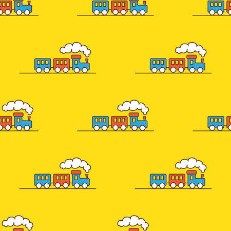 Vector funny cartoon toy train seamless pattern. Little steam train background. Vettoriali