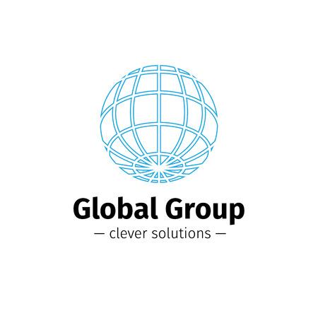 globe logo: Vector modern outline Earth logo. Elegant globe symbol.