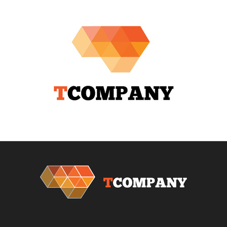 Vector modern orange T letter logo. Abstract transparent cubes logotype.