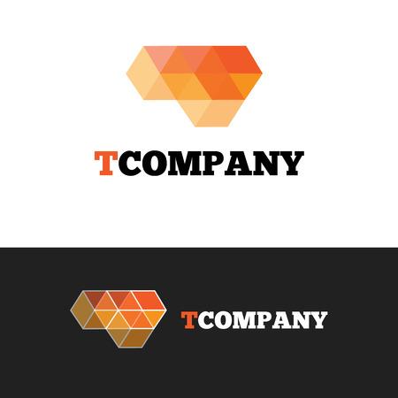 letter t: Vector modern orange T letter logo. Abstract transparent cubes logotype.