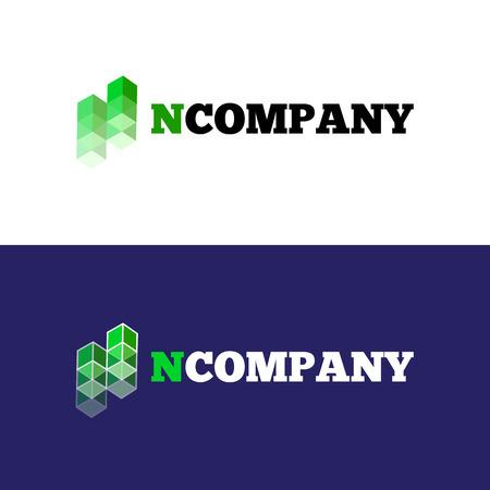 business letter: Vector modern orange N letter logo. Abstract transparent cubes logotype.