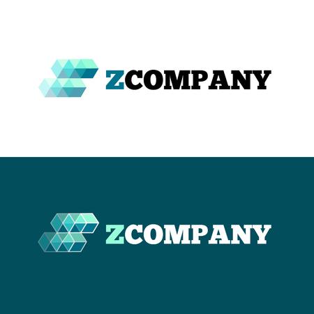 Vector modern orange Z letter logo. Abstract transparent cubes logotype.