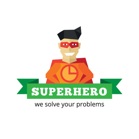 hero: Vector flat funny super hero logotype. Cartoon style mascot logo.