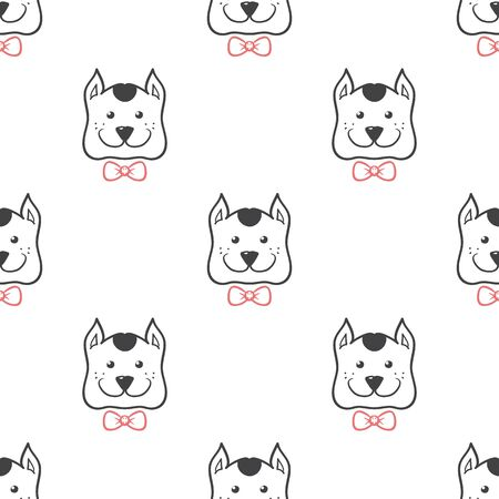 animal head: Vector cartoon style dog head seamless pattern. Cute animal background.