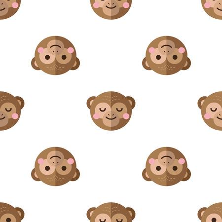 chimp: Vector funny flat cartoon chimp heads seamless pattern. Monkey background. Illustration