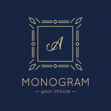 scripts: Vector minimalistic elegant monogram . Trendy thin letter  Illustration