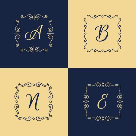 old letter: Vector minimalistic elegant monogram . Trendy thin letter  Illustration